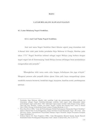 Bab 4 Latar Belakang Kawasan Kajian 4 1 1 Asal Usul Asal Usul Nama Negeri Sembilan Asal Usul Nama Pdf Document