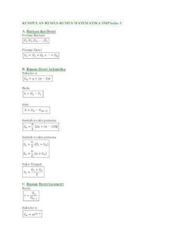 Kumpulan Rumus Matematika Smp Kelas 3 Pdf Document
