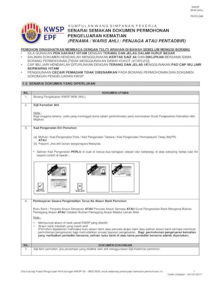 Borang Pengeluaran Kwsp 9km Ahl