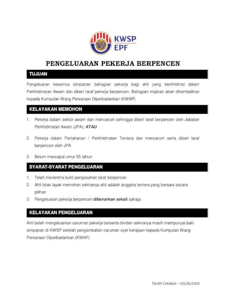 Pengeluaran Kwsp Taraf Berpencen 2018