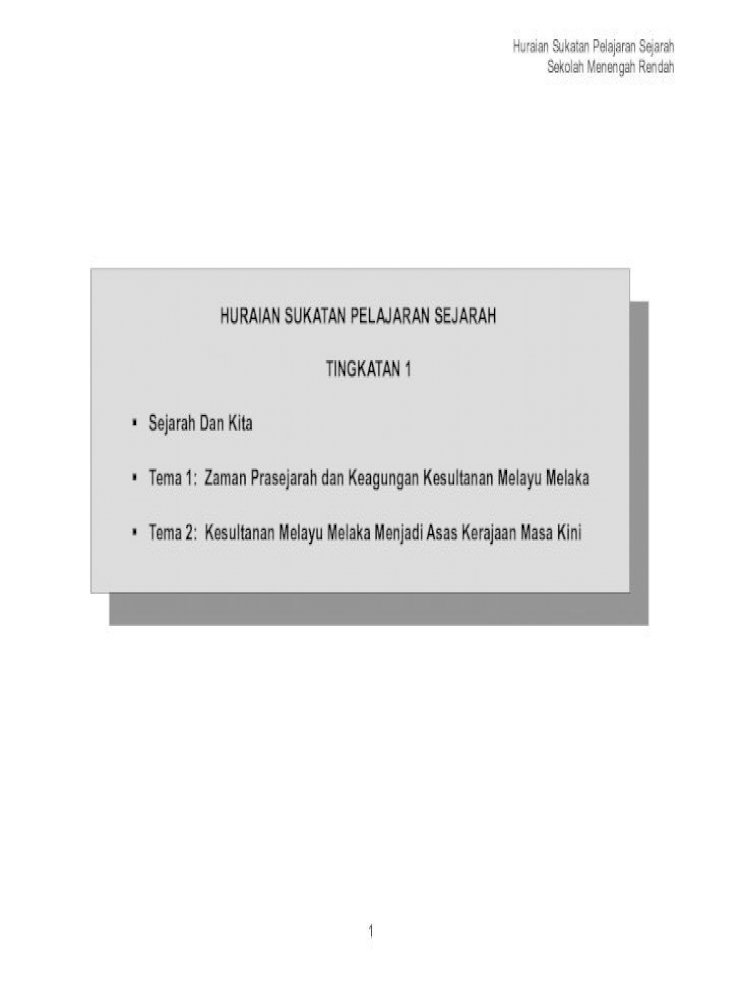 Hsp Tingkatan 1 Tema 2 Kesultanan Melayu Tingkatan 1 Hingga Tingkatan 3 Berbangga Dengan Pdf Document