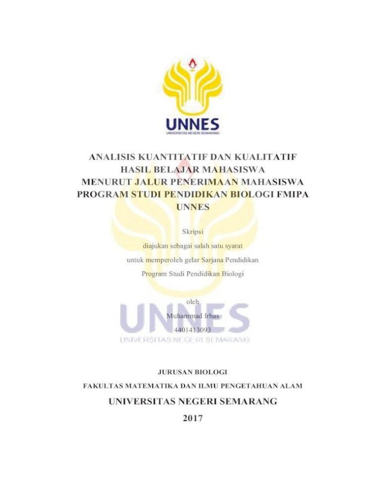 Analisis Kuantitatif Dan Kualitatif Hasil Belajar Lib Unnes Ac Id 32345 1 I Analisis Kuantitatif Pdf Document