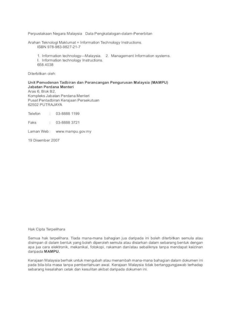 Arahan Teknologi Maklumat Keselamatan Teknologi Maklumat Dan Komunikasi Kerajaana Kuala Lumpur Percetakan Pdf Document