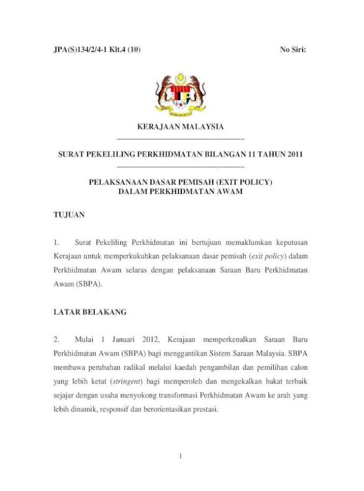 Surat Pekeliling Perkhidmatan Bilangan 11 Tahun Adalah Menjadi Tanggungjawabketua Jabatan Dan Pe Pdf Document