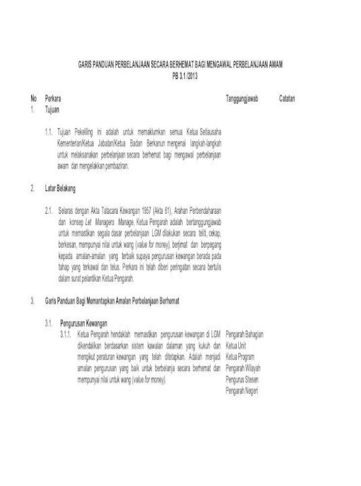 Garis Panduan Perbelanjaan Secara Dengan Akta Tatacara Kewangan 1957 Akta 61 Arahan Perbendaharaan Lembaga Dan Tanpa Perbelanjaan Yang Keterlaluan Untuk Perhiasan Acara Pdf Document