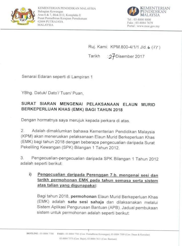 Siaran Pelaksanaan Emk Mendaftar Sekolah Yang Memiliki Surat Pengesahan Oku Kad Oku Bertarikh Pdf Document