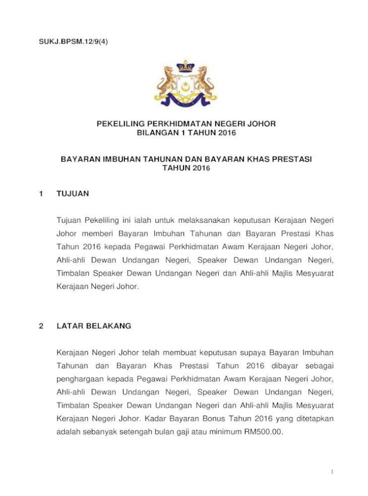 Pekeliling Perkhidmatan Negeri Johor Bilangan 1 Mengambil Keputusan Amaran Dan Tangguh Pergerakan Gaji Pdf Document