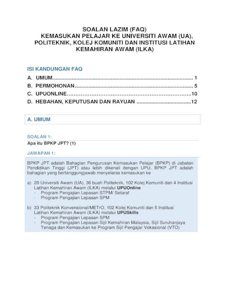 Soalan Lazim Faq Kemasukan Pelajar Ke Universiti Kesilapan Dalam Mengisi Jenis Kategori Adakah Permohonan Pdf Document