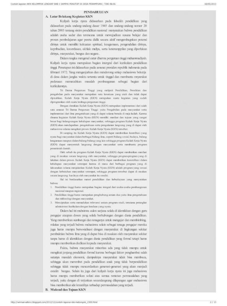 Contoh Laporan Kkn Kelompok Lengkap Bab 1 Sampai Penutup Di Pdf Document
